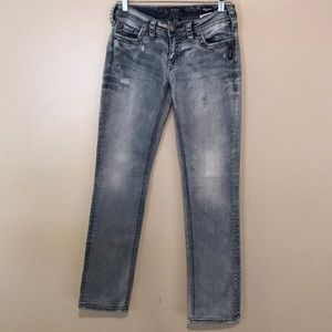 Silver Aiko Super Stretch Distressed Jeans